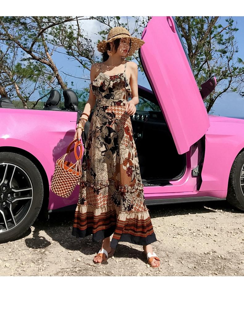 リゾートワンピース ロング マキシ ハワイ お出かけワンピ 春 夏 リゾート パーティー PTXH731  ヴィンテージ風カラー フリル マキシ リゾート セレブ セクシーの写真3枚目