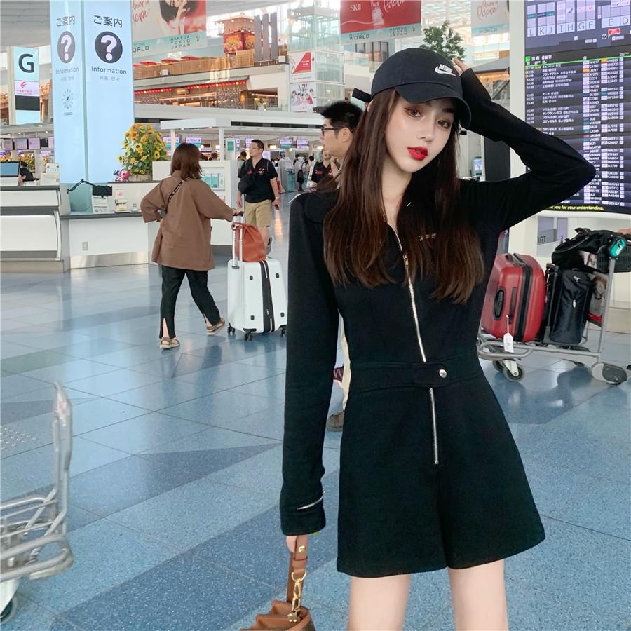 韓国 ファッション オールインワン サロペット 春 夏 秋 カジュアル PTXH793  ジップアップ ウエストマーク ショートパンツ オルチャン シンプル 定番 セレカジの写真2枚目