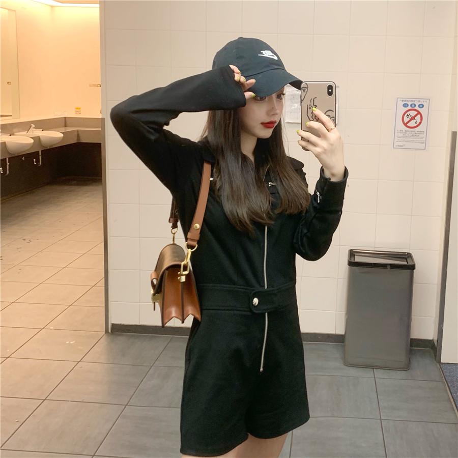 韓国 ファッション オールインワン サロペット 春 夏 秋 カジュアル PTXH793  ジップアップ ウエストマーク ショートパンツ オルチャン シンプル 定番 セレカジの写真3枚目