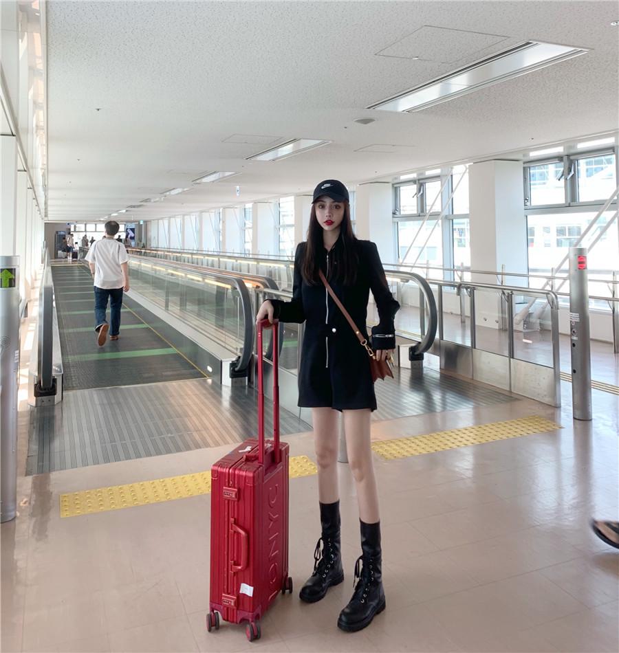 韓国 ファッション オールインワン サロペット 春 夏 秋 カジュアル PTXH793  ジップアップ ウエストマーク ショートパンツ オルチャン シンプル 定番 セレカジの写真5枚目