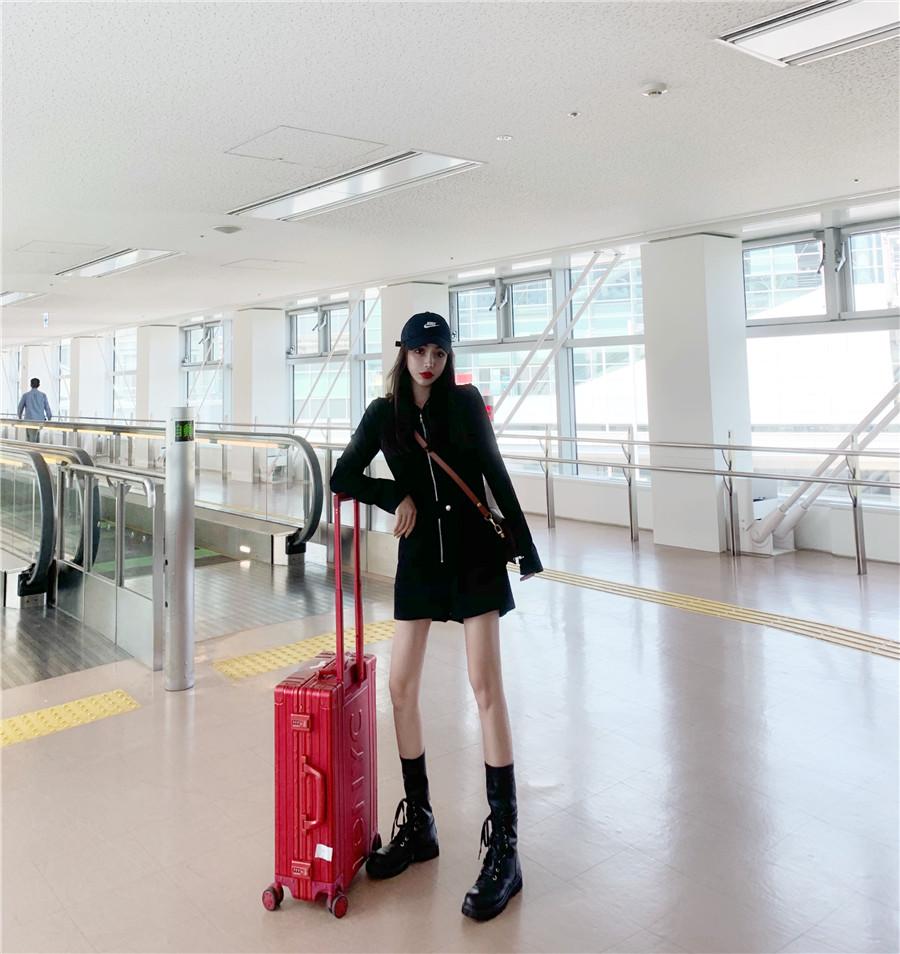 韓国 ファッション オールインワン サロペット 春 夏 秋 カジュアル PTXH793  ジップアップ ウエストマーク ショートパンツ オルチャン シンプル 定番 セレカジの写真6枚目