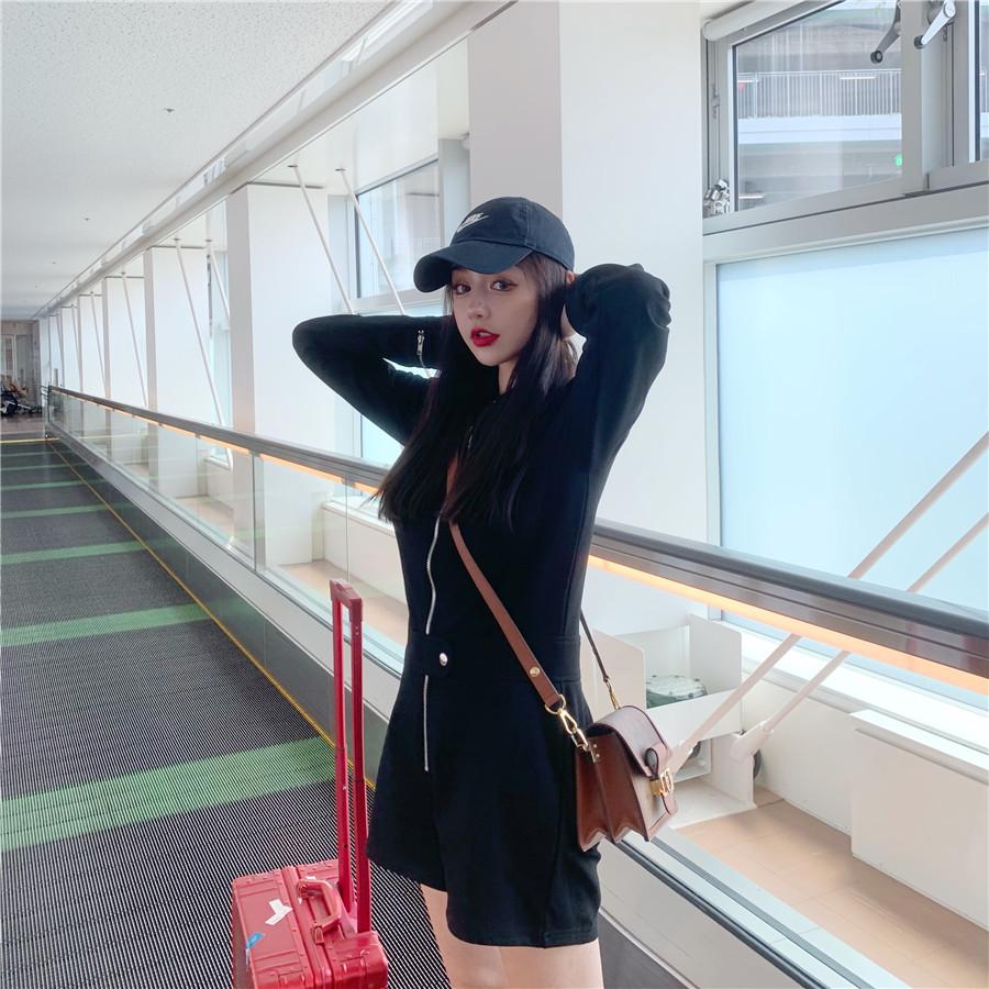 韓国 ファッション オールインワン サロペット 春 夏 秋 カジュアル PTXH793  ジップアップ ウエストマーク ショートパンツ オルチャン シンプル 定番 セレカジの写真7枚目
