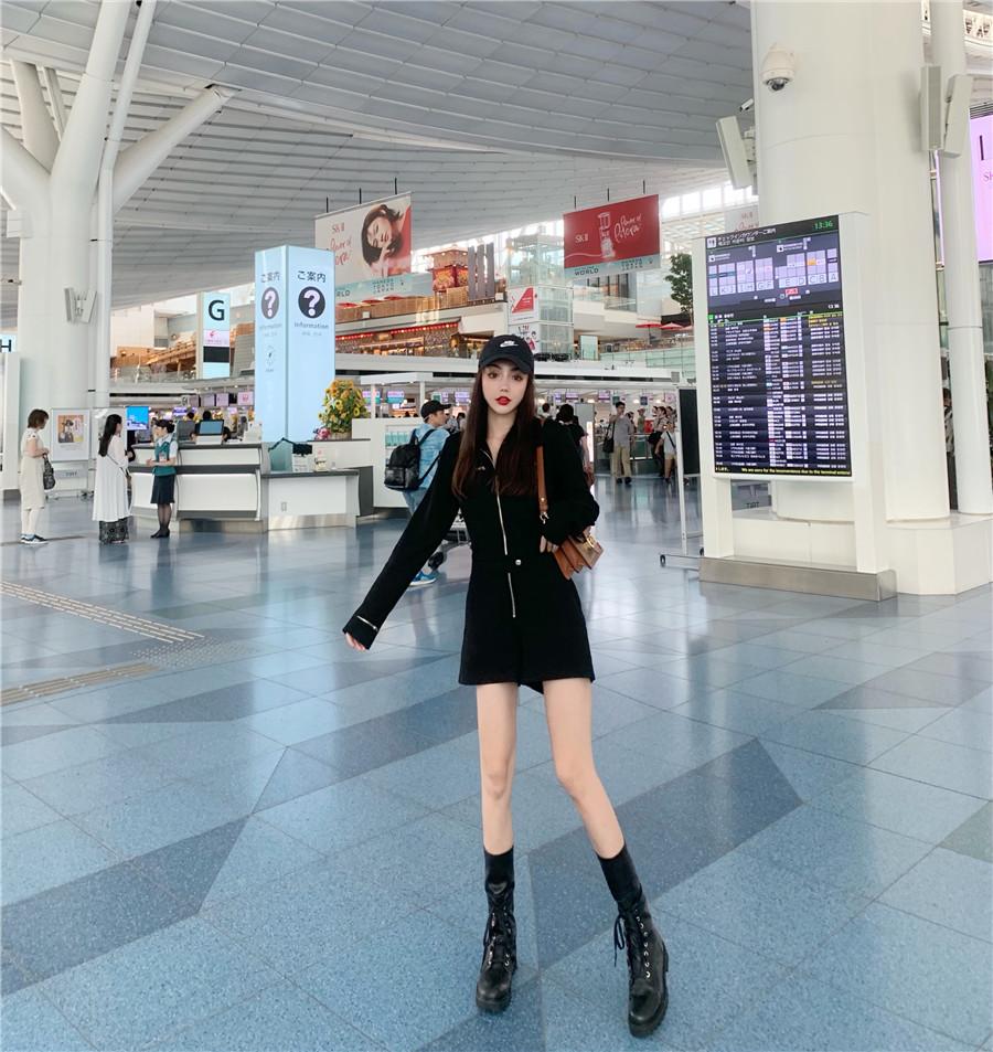 韓国 ファッション オールインワン サロペット 春 夏 秋 カジュアル PTXH793  ジップアップ ウエストマーク ショートパンツ オルチャン シンプル 定番 セレカジの写真8枚目