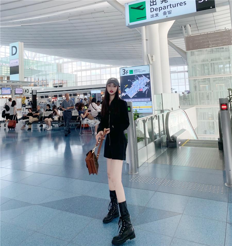 韓国 ファッション オールインワン サロペット 春 夏 秋 カジュアル PTXH793  ジップアップ ウエストマーク ショートパンツ オルチャン シンプル 定番 セレカジの写真9枚目