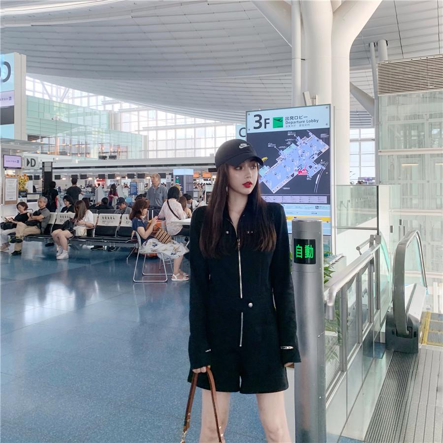 韓国 ファッション オールインワン サロペット 春 夏 秋 カジュアル PTXH793  ジップアップ ウエストマーク ショートパンツ オルチャン シンプル 定番 セレカジの写真13枚目