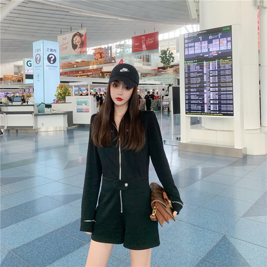韓国 ファッション オールインワン サロペット 春 夏 秋 カジュアル PTXH793  ジップアップ ウエストマーク ショートパンツ オルチャン シンプル 定番 セレカジの写真14枚目