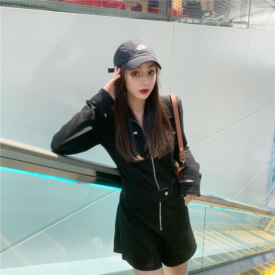 韓国 ファッション オールインワン サロペット 春 夏 秋 カジュアル PTXH793  ジップアップ ウエストマーク ショートパンツ オルチャン シンプル 定番 セレカジの写真15枚目