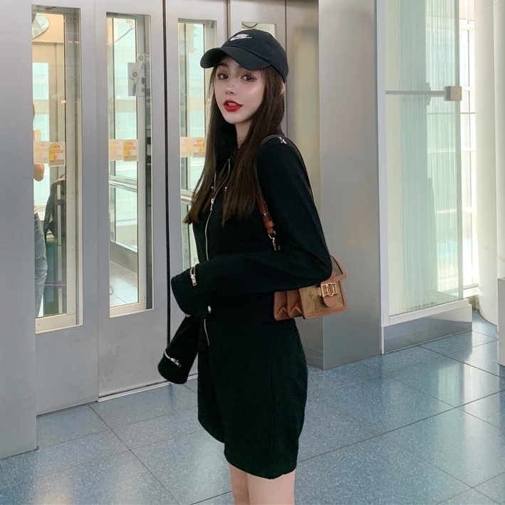韓国 ファッション オールインワン サロペット 春 夏 秋 カジュアル PTXH793  ジップアップ ウエストマーク ショートパンツ オルチャン シンプル 定番 セレカジの写真16枚目