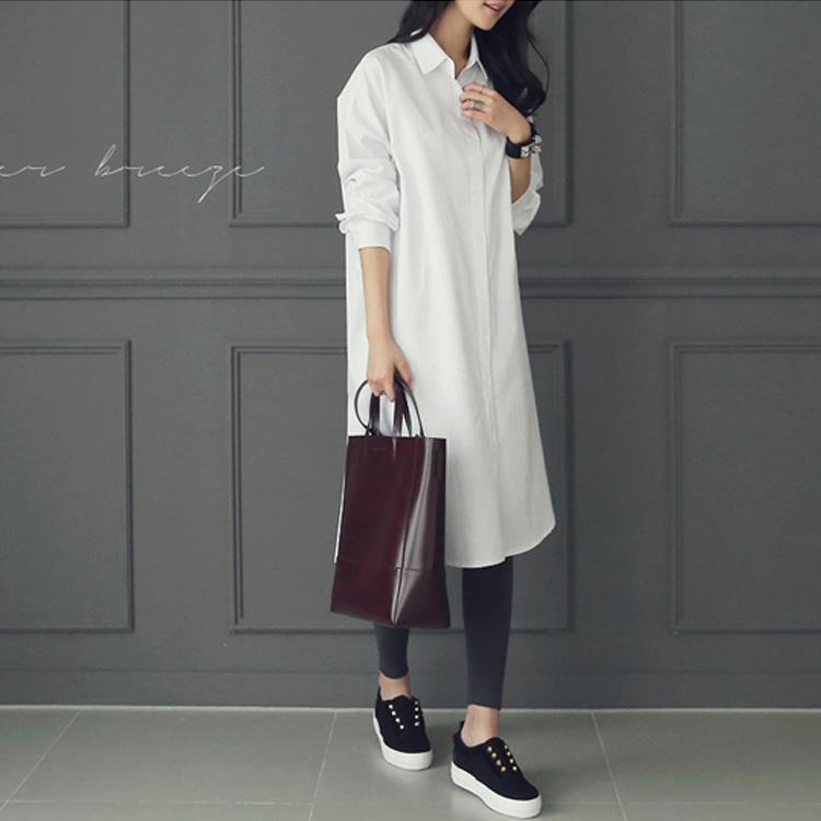 韓国 ファッション ワンピース 春 夏 秋 カジュアル PTXH826  ゆるタイト レイヤード ベーシック 着回し オルチャン シンプル 定番 セレカジの写真3枚目