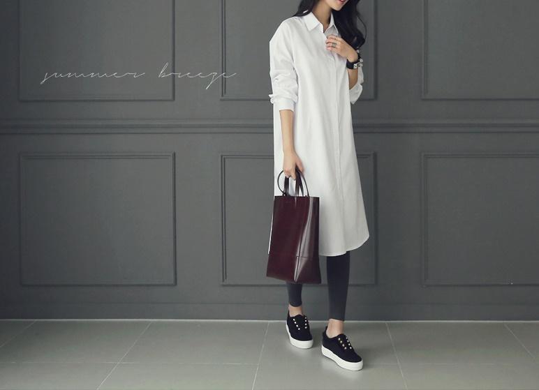 韓国 ファッション ワンピース 春 夏 秋 カジュアル PTXH826  ゆるタイト レイヤード ベーシック 着回し オルチャン シンプル 定番 セレカジの写真4枚目