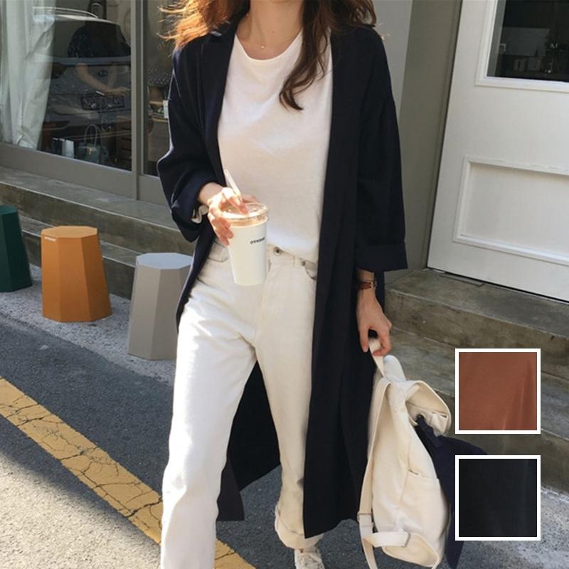 韓国 ファッション ワンピース 春 秋 冬 カジュアル PTXH835  テーラード 七分袖 ゆったり オフィス 休日 オルチャン シンプル 定番 セレカジの写真1枚目