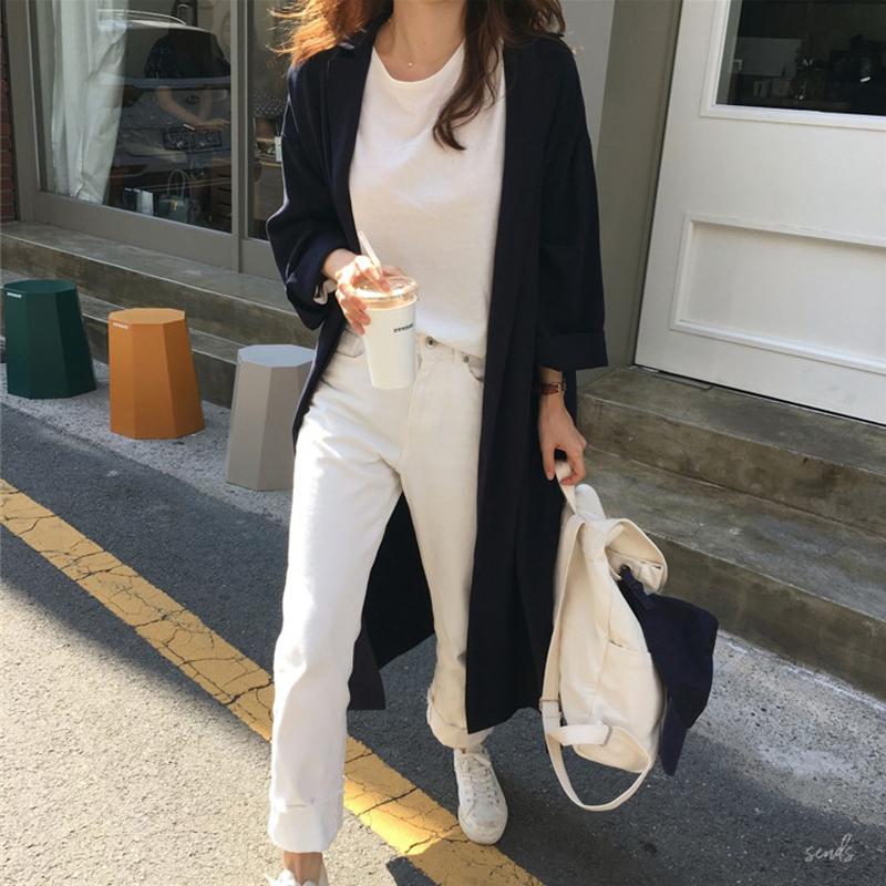 韓国 ファッション ワンピース 春 秋 冬 カジュアル PTXH835  テーラード 七分袖 ゆったり オフィス 休日 オルチャン シンプル 定番 セレカジの写真3枚目