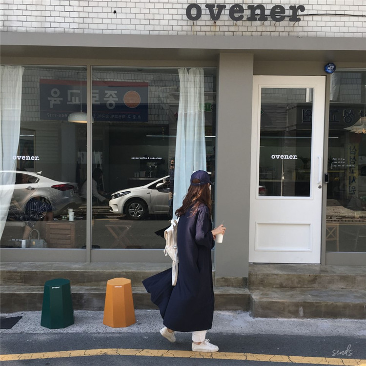 韓国 ファッション ワンピース 春 秋 冬 カジュアル PTXH835  テーラード 七分袖 ゆったり オフィス 休日 オルチャン シンプル 定番 セレカジの写真4枚目
