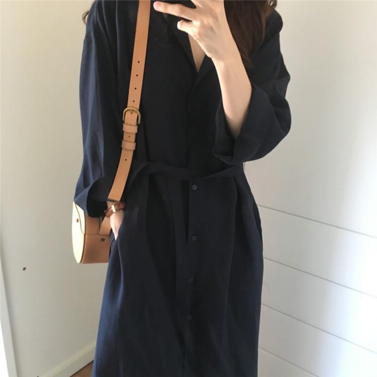 韓国 ファッション ワンピース 春 秋 冬 カジュアル PTXH835  テーラード 七分袖 ゆったり オフィス 休日 オルチャン シンプル 定番 セレカジの写真6枚目