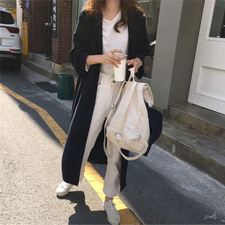韓国 ファッション ワンピース 春 秋 冬 カジュアル PTXH835  テーラード 七分袖 ゆったり オフィス 休日 オルチャン シンプル 定番 セレカジの写真7枚目