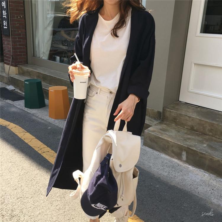 韓国 ファッション ワンピース 春 秋 冬 カジュアル PTXH835  テーラード 七分袖 ゆったり オフィス 休日 オルチャン シンプル 定番 セレカジの写真8枚目