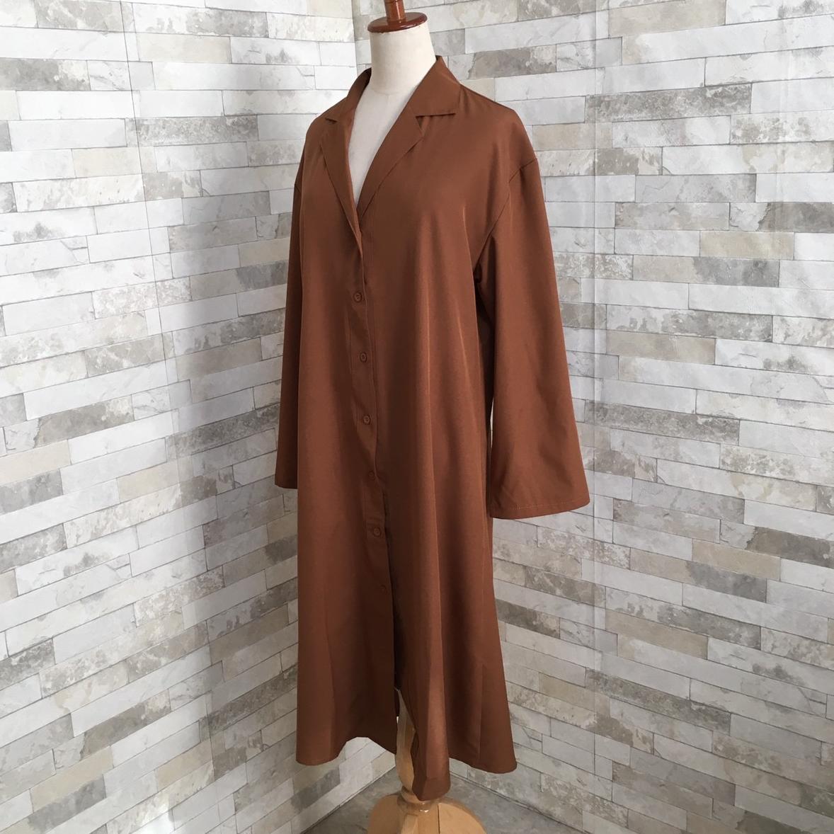 韓国 ファッション ワンピース 春 秋 冬 カジュアル PTXH835  テーラード 七分袖 ゆったり オフィス 休日 オルチャン シンプル 定番 セレカジの写真12枚目