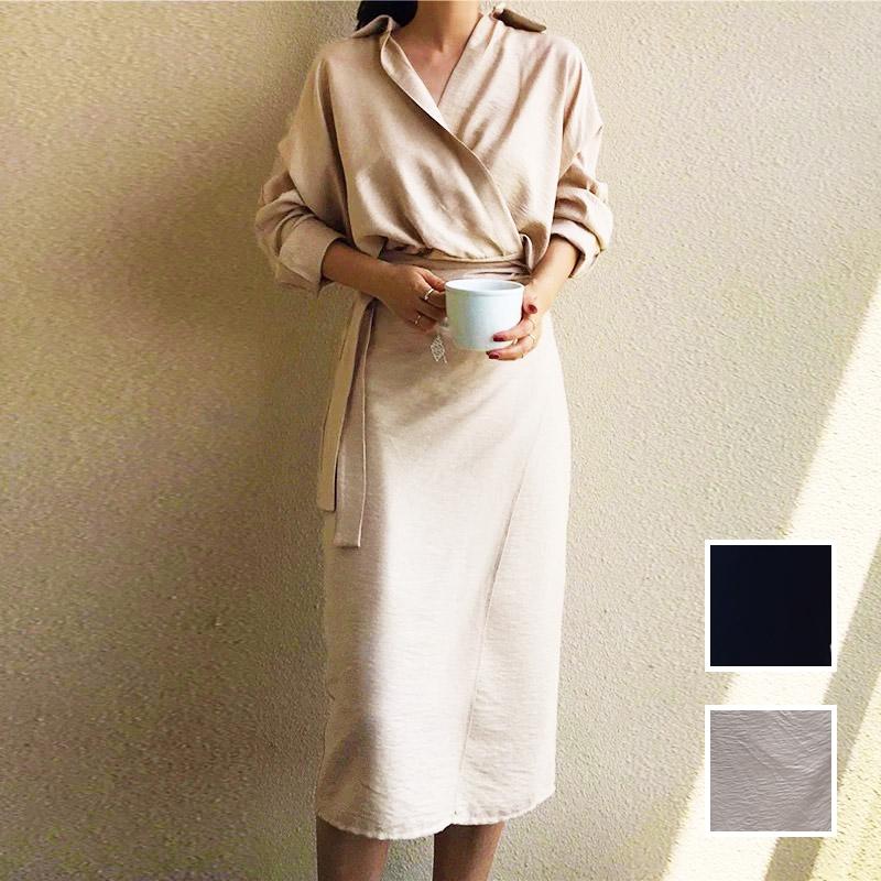 韓国 ファッション ワンピース 春 秋 冬 カジュアル PTXH836  カシュクール 襟付き ウエストマーク オフィス オルチャン シンプル 定番 セレカジの写真1枚目