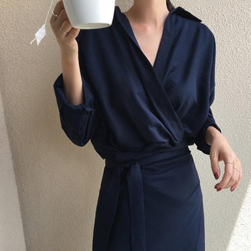 韓国 ファッション ワンピース 春 秋 冬 カジュアル PTXH836  カシュクール 襟付き ウエストマーク オフィス オルチャン シンプル 定番 セレカジの写真2枚目