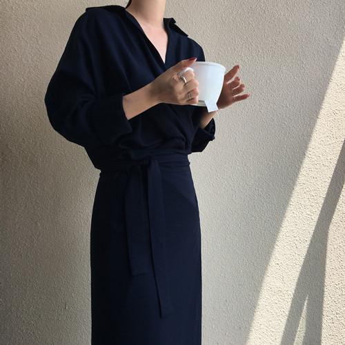韓国 ファッション ワンピース 春 秋 冬 カジュアル PTXH836  カシュクール 襟付き ウエストマーク オフィス オルチャン シンプル 定番 セレカジの写真4枚目