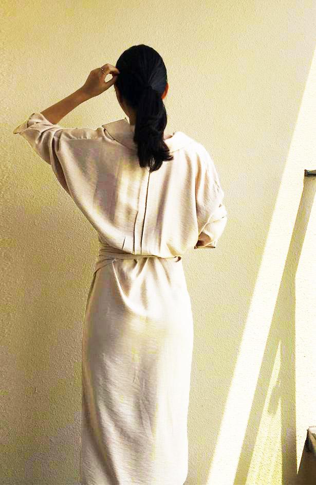 韓国 ファッション ワンピース 春 秋 冬 カジュアル PTXH836  カシュクール 襟付き ウエストマーク オフィス オルチャン シンプル 定番 セレカジの写真5枚目