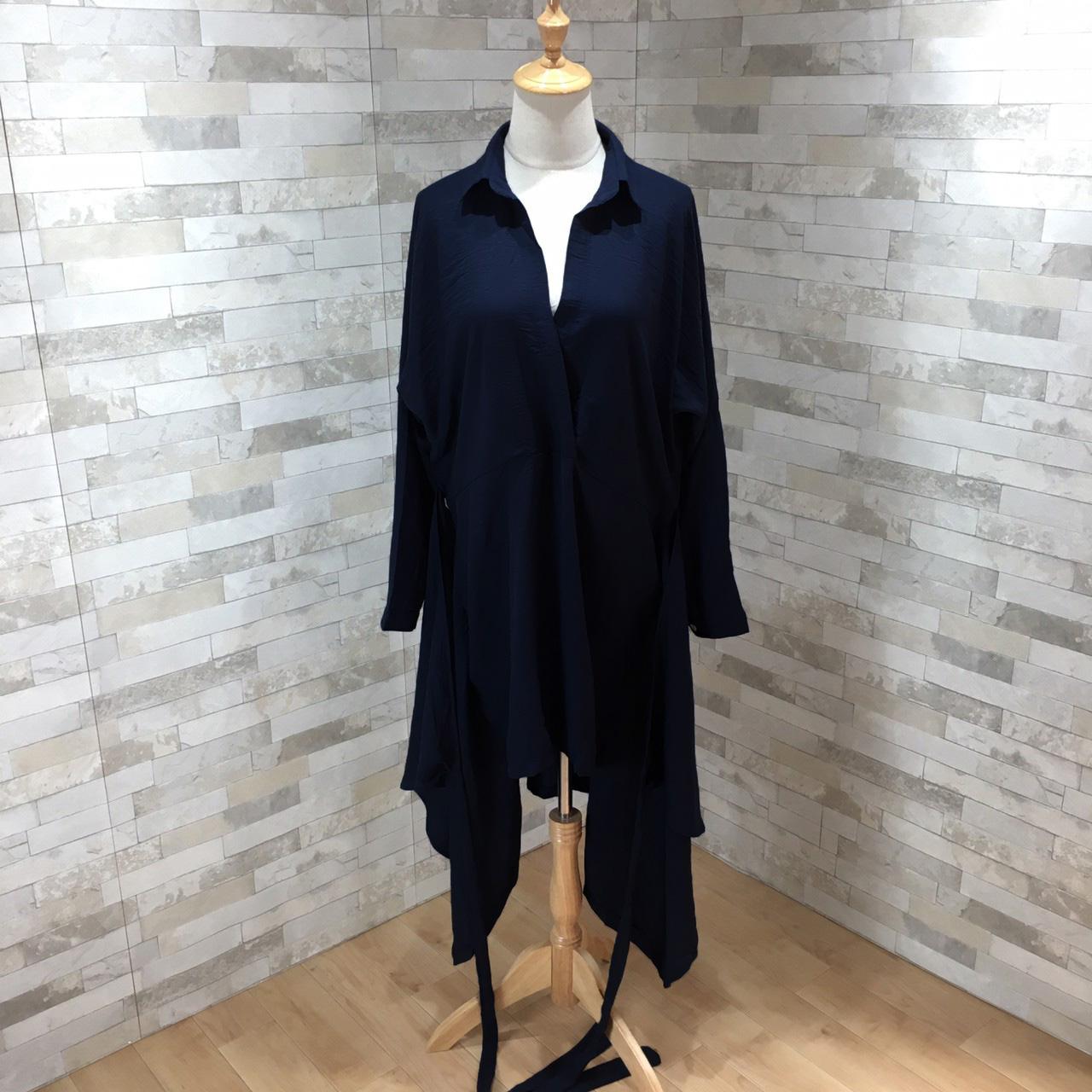 韓国 ファッション ワンピース 春 秋 冬 カジュアル PTXH836  カシュクール 襟付き ウエストマーク オフィス オルチャン シンプル 定番 セレカジの写真8枚目