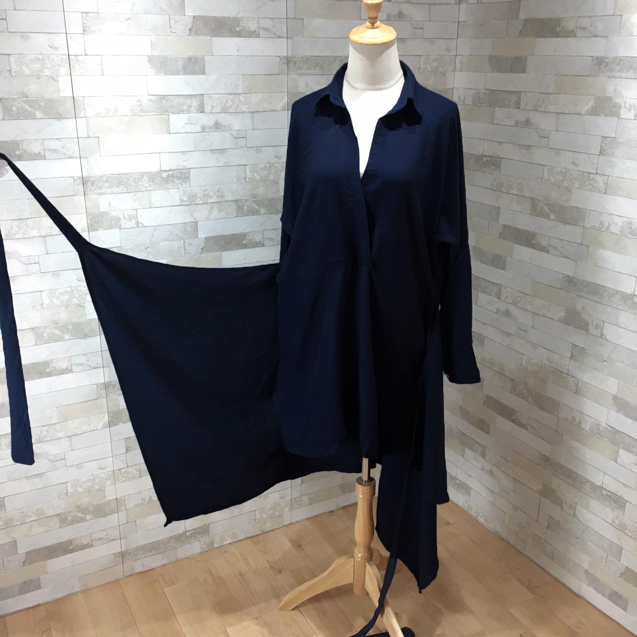 韓国 ファッション ワンピース 春 秋 冬 カジュアル PTXH836  カシュクール 襟付き ウエストマーク オフィス オルチャン シンプル 定番 セレカジの写真10枚目