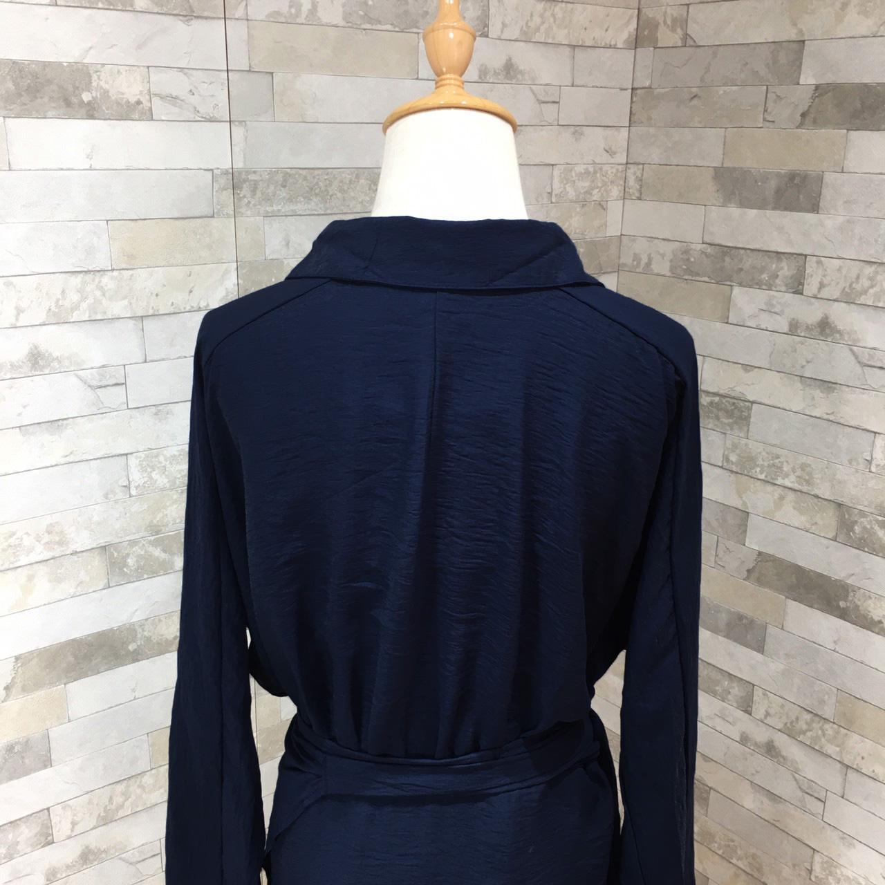 韓国 ファッション ワンピース 春 秋 冬 カジュアル PTXH836  カシュクール 襟付き ウエストマーク オフィス オルチャン シンプル 定番 セレカジの写真15枚目
