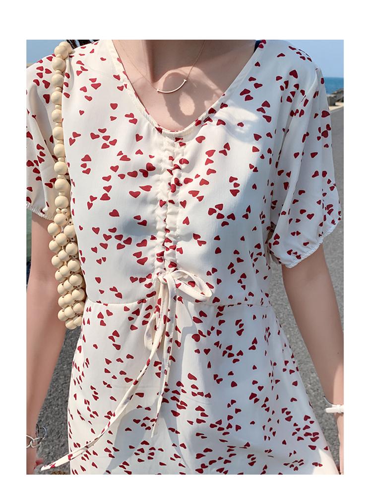 リゾートワンピース ひざ丈 ミディアム ハワイ お出かけワンピ 春 夏 リゾート パーティー PTXH857  センターシャーリング ギャザー Aライン セレブ セクシーの写真18枚目