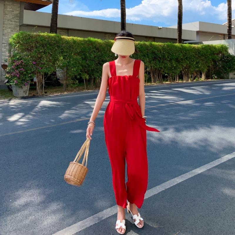 韓国 ファッション オールインワン サロペット 春 夏 リゾート パーティー PTXH882  キュート ワイド クロップド オーバーオール セレブ セクシーの写真2枚目
