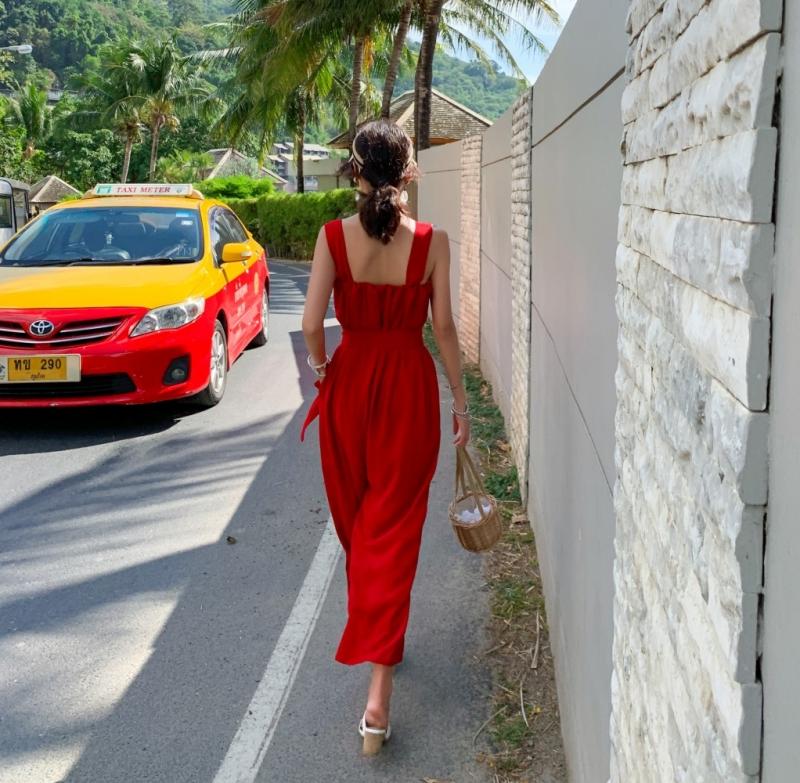 韓国 ファッション オールインワン サロペット 春 夏 リゾート パーティー PTXH882  キュート ワイド クロップド オーバーオール セレブ セクシーの写真5枚目
