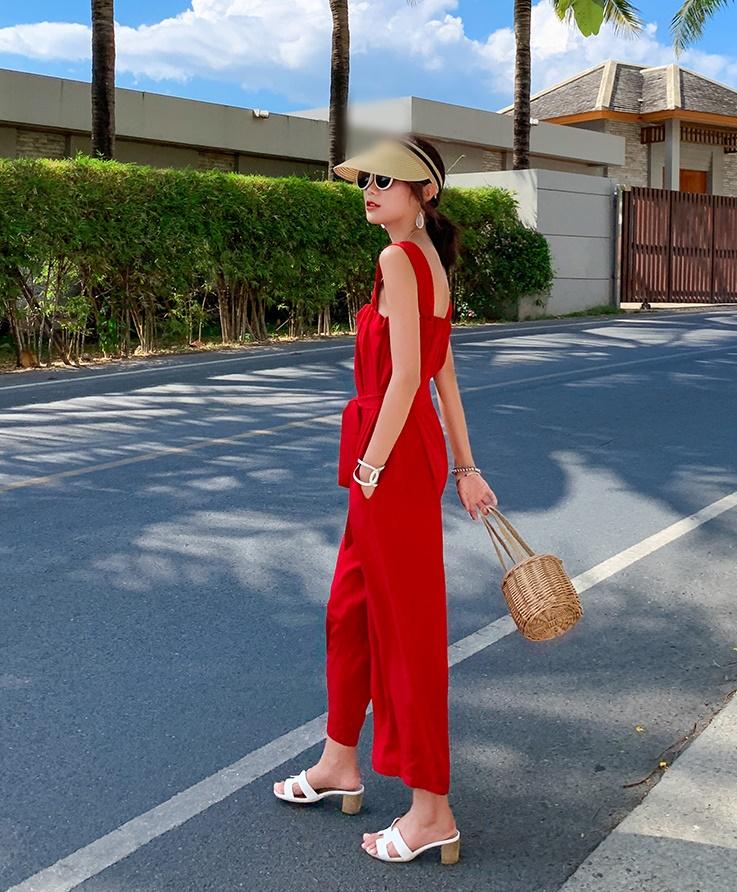 韓国 ファッション オールインワン サロペット 春 夏 リゾート パーティー PTXH882  キュート ワイド クロップド オーバーオール セレブ セクシーの写真6枚目