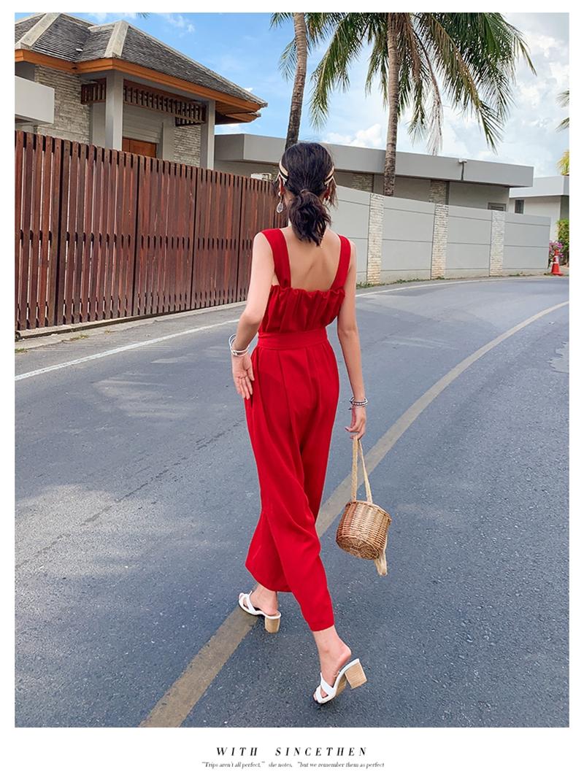 韓国 ファッション オールインワン サロペット 春 夏 リゾート パーティー PTXH882  キュート ワイド クロップド オーバーオール セレブ セクシーの写真10枚目