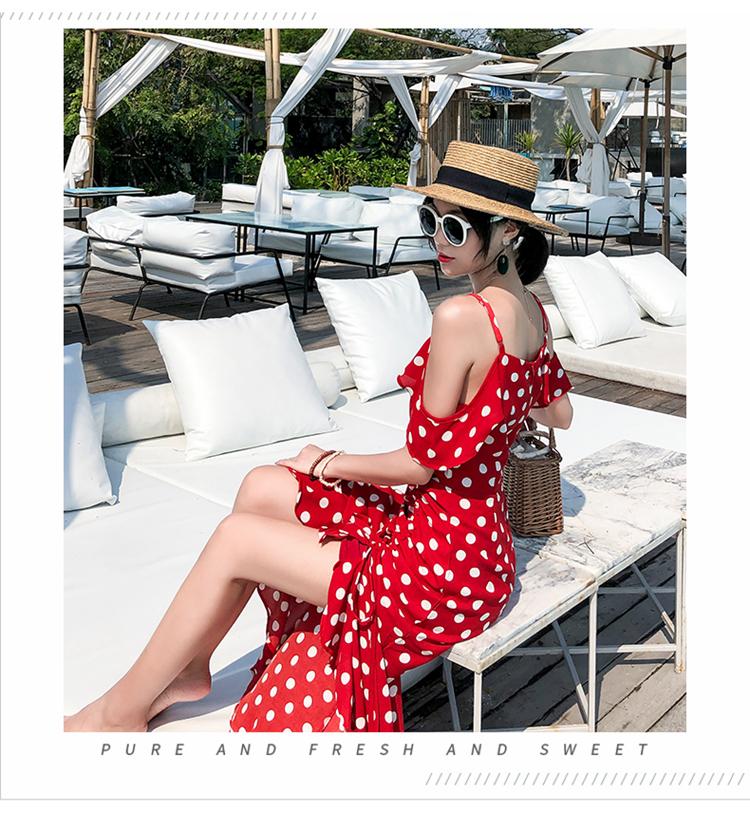 リゾートワンピース ロング マキシ ハワイ お出かけワンピ 春 夏 リゾート パーティー PTXH884  オフショルダー風 アシンメトリー ラッフル セレブ セクシーの写真4枚目