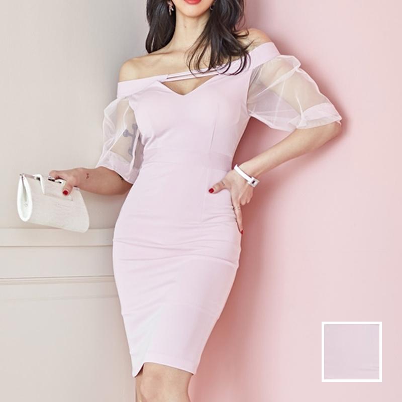韓国 ファッション ワンピース パーティードレス ショート ミニ丈 春 夏 パーティー ブライダル PTXH938 結婚式 お呼ばれ オフショル カットオフ 深Vネック シー 二次会 セレブ きれいめの写真1枚目