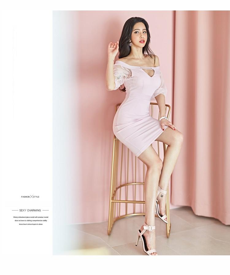 韓国 ファッション ワンピース パーティードレス ショート ミニ丈 春 夏 パーティー ブライダル PTXH938 結婚式 お呼ばれ オフショル カットオフ 深Vネック シー 二次会 セレブ きれいめの写真7枚目