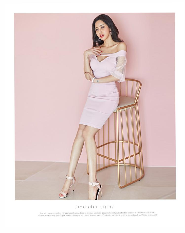韓国 ファッション ワンピース パーティードレス ショート ミニ丈 春 夏 パーティー ブライダル PTXH938 結婚式 お呼ばれ オフショル カットオフ 深Vネック シー 二次会 セレブ きれいめの写真9枚目