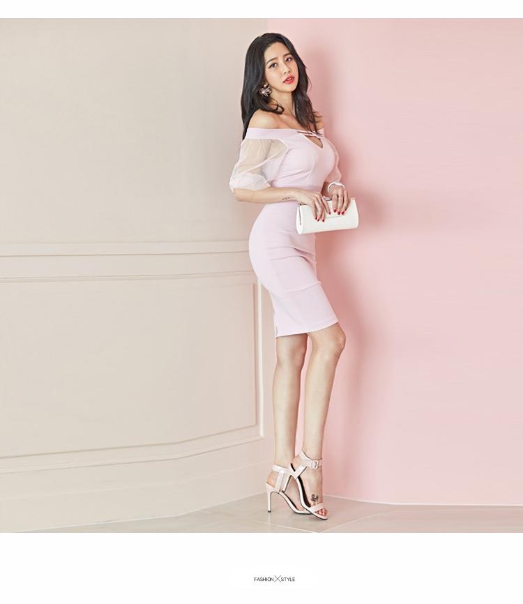 韓国 ファッション ワンピース パーティードレス ショート ミニ丈 春 夏 パーティー ブライダル PTXH938 結婚式 お呼ばれ オフショル カットオフ 深Vネック シー 二次会 セレブ きれいめの写真16枚目