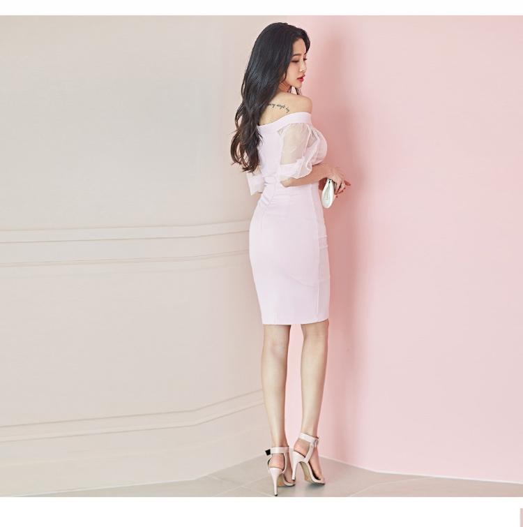 韓国 ファッション ワンピース パーティードレス ショート ミニ丈 春 夏 パーティー ブライダル PTXH938 結婚式 お呼ばれ オフショル カットオフ 深Vネック シー 二次会 セレブ きれいめの写真17枚目