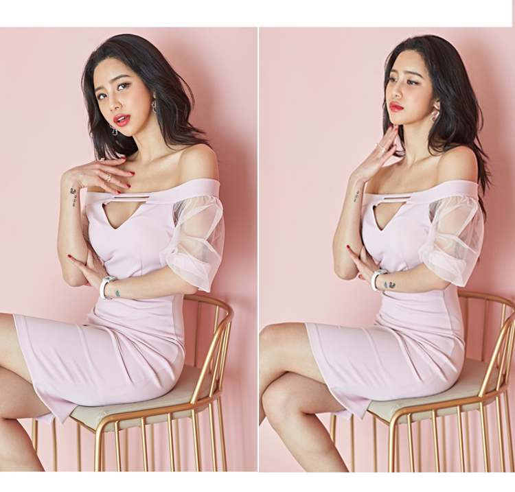 韓国 ファッション ワンピース パーティードレス ショート ミニ丈 春 夏 パーティー ブライダル PTXH938 結婚式 お呼ばれ オフショル カットオフ 深Vネック シー 二次会 セレブ きれいめの写真18枚目