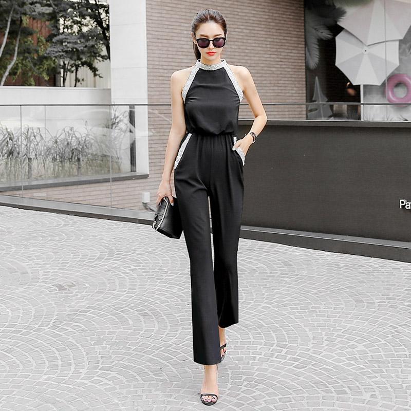 韓国 ファッション オールインワン サロペット 春 夏 パーティー ブライダル PTXH943  モノトーン ビジュー ホルターネック ワイド 二次会 セレブ きれいめの写真2枚目