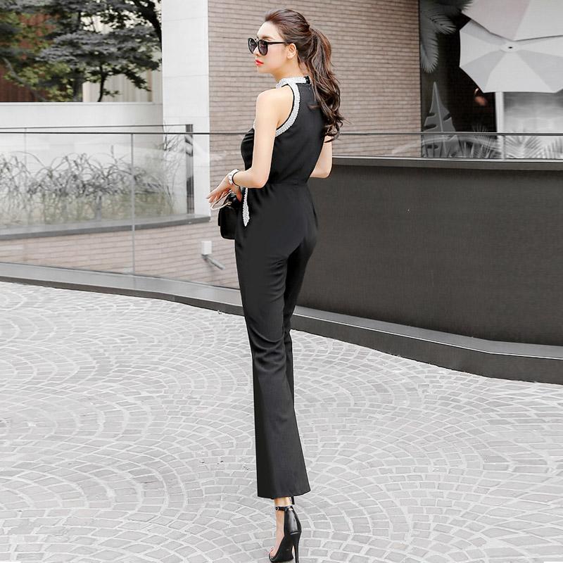 韓国 ファッション オールインワン サロペット 春 夏 パーティー ブライダル PTXH943  モノトーン ビジュー ホルターネック ワイド 二次会 セレブ きれいめの写真6枚目