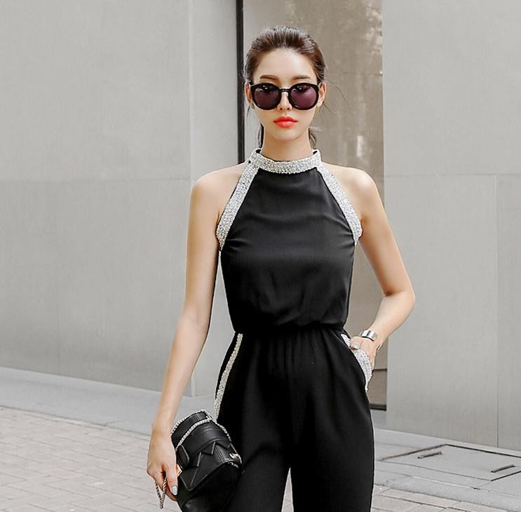 韓国 ファッション オールインワン サロペット 春 夏 パーティー ブライダル PTXH943  モノトーン ビジュー ホルターネック ワイド 二次会 セレブ きれいめの写真7枚目