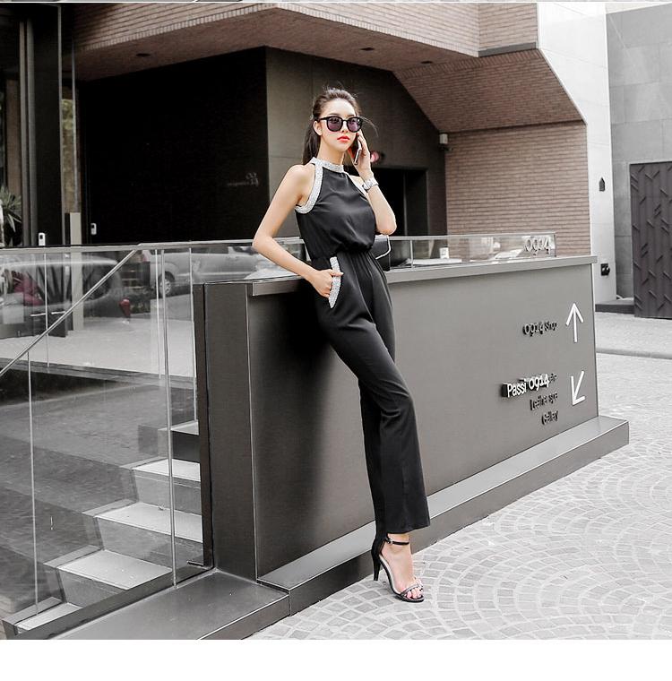 韓国 ファッション オールインワン サロペット 春 夏 パーティー ブライダル PTXH943  モノトーン ビジュー ホルターネック ワイド 二次会 セレブ きれいめの写真11枚目