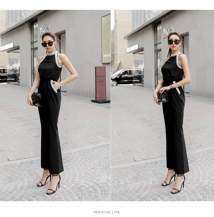 韓国 ファッション オールインワン サロペット 春 夏 パーティー ブライダル PTXH943  モノトーン ビジュー ホルターネック ワイド 二次会 セレブ きれいめの写真14枚目