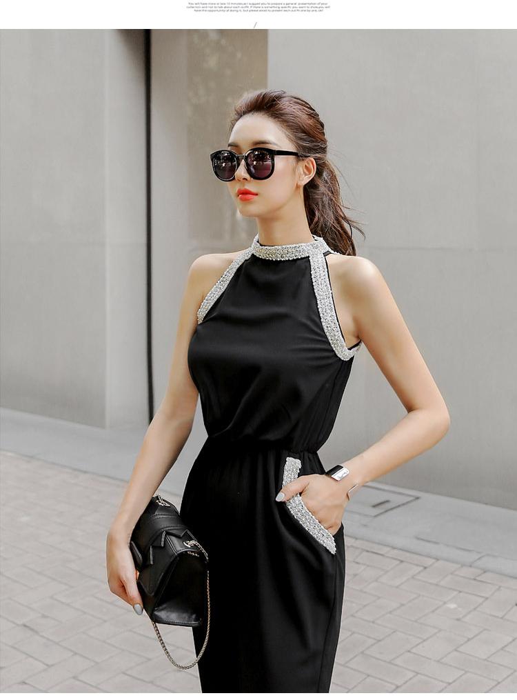 韓国 ファッション オールインワン サロペット 春 夏 パーティー ブライダル PTXH943  モノトーン ビジュー ホルターネック ワイド 二次会 セレブ きれいめの写真15枚目