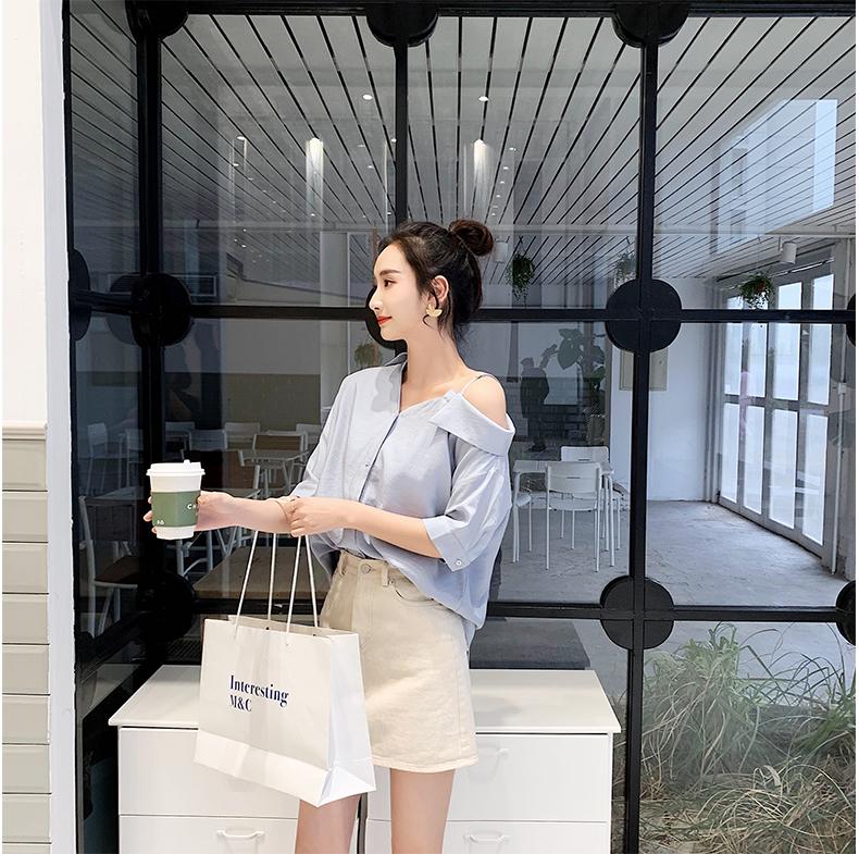 韓国 ファッション トップス ブラウス シャツ 春 夏 秋 カジュアル PTXH959  ワンショルダー アシンメトリー 肩見せ ラフ オルチャン シンプル 定番 セレカジの写真8枚目