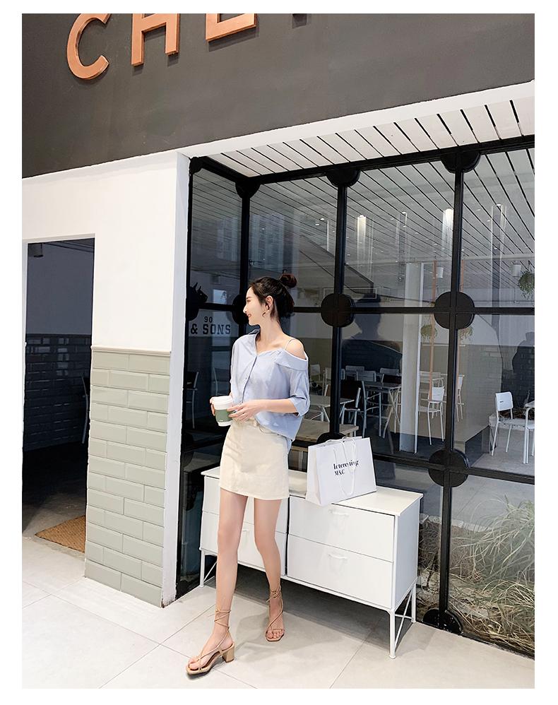 韓国 ファッション トップス ブラウス シャツ 春 夏 秋 カジュアル PTXH959  ワンショルダー アシンメトリー 肩見せ ラフ オルチャン シンプル 定番 セレカジの写真11枚目