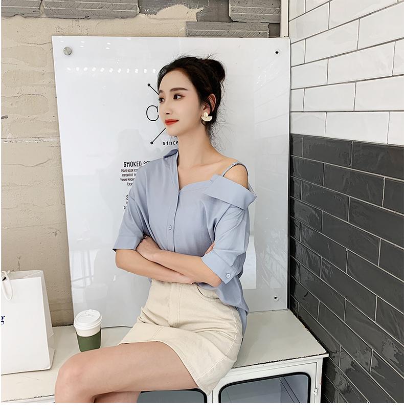 韓国 ファッション トップス ブラウス シャツ 春 夏 秋 カジュアル PTXH959  ワンショルダー アシンメトリー 肩見せ ラフ オルチャン シンプル 定番 セレカジの写真12枚目