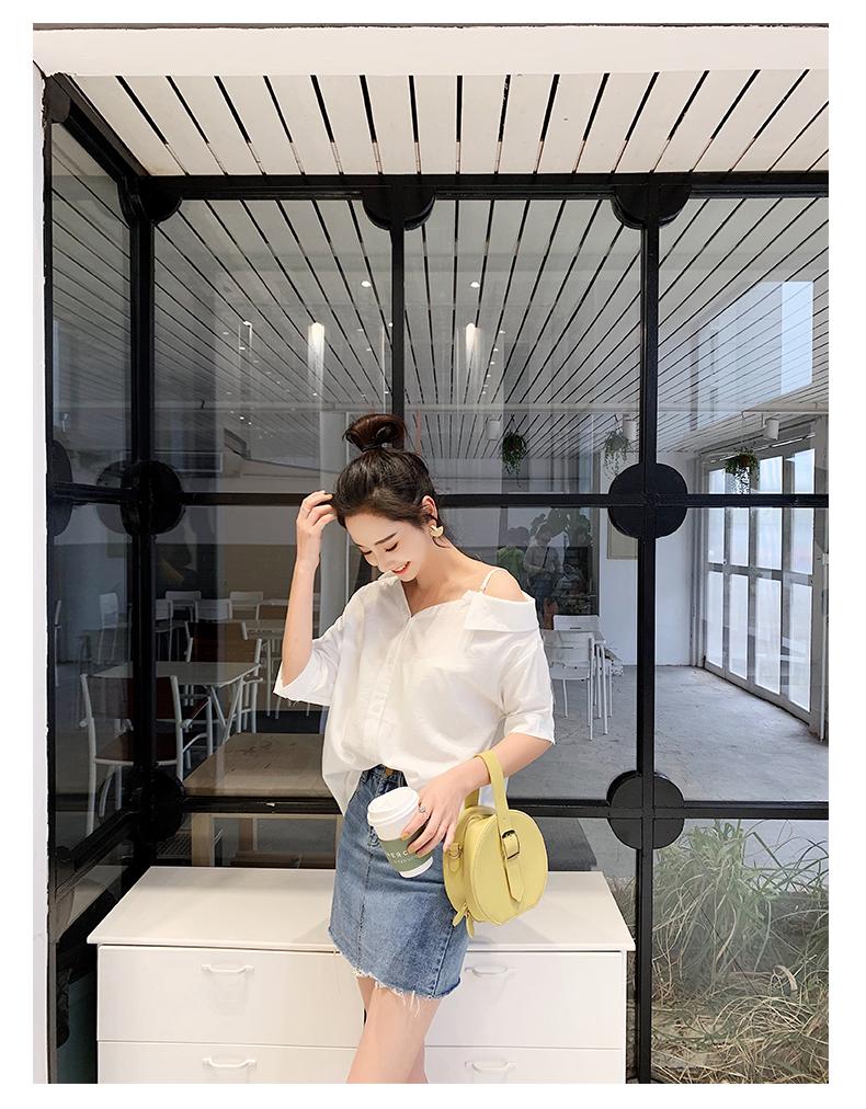 韓国 ファッション トップス ブラウス シャツ 春 夏 秋 カジュアル PTXH959  ワンショルダー アシンメトリー 肩見せ ラフ オルチャン シンプル 定番 セレカジの写真15枚目
